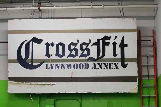 Lynnwood Crossfit sign hanging in the gym