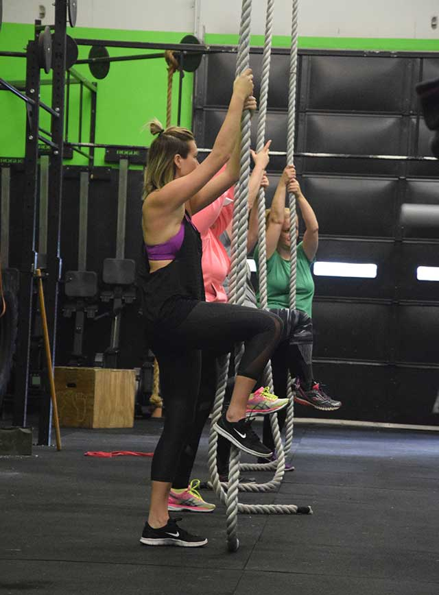 Group of ladies learning about rope climbing
