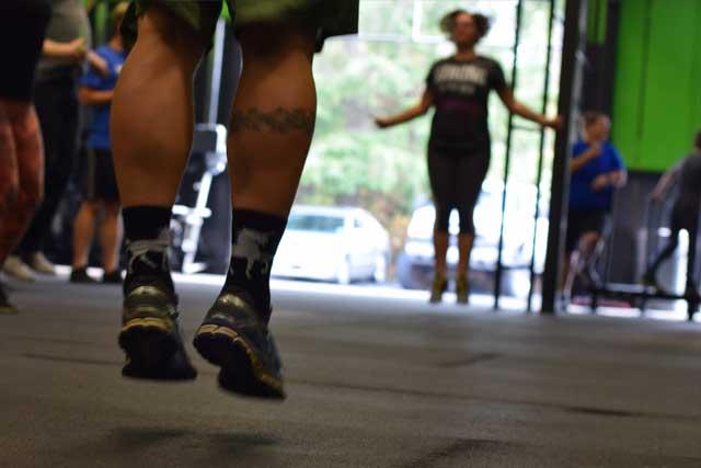 Legs mid jump rope